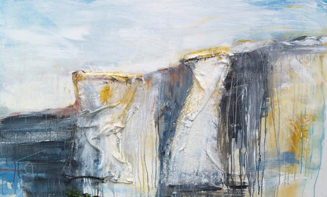 Abstrakte Malerei auf Leinwand, Malerei Steilküste, Meer