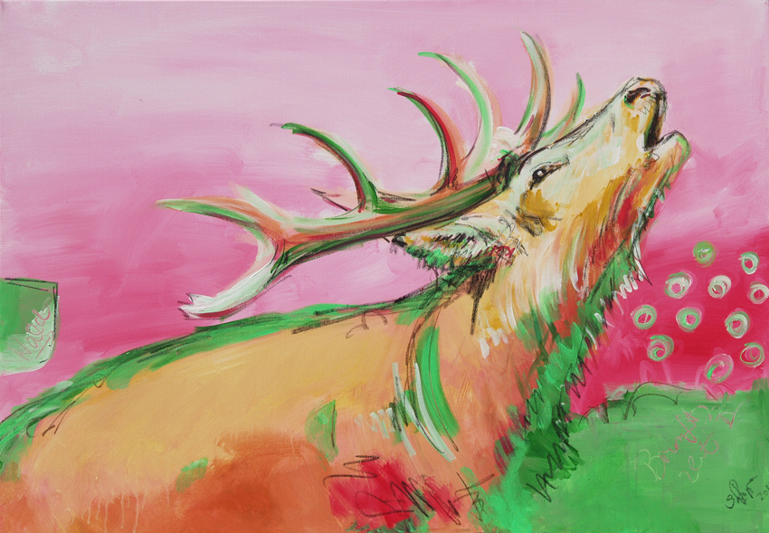 brunftzeit iii serie hirsch in pink abstrakte bilder original gem lde malerei kunst online. Black Bedroom Furniture Sets. Home Design Ideas