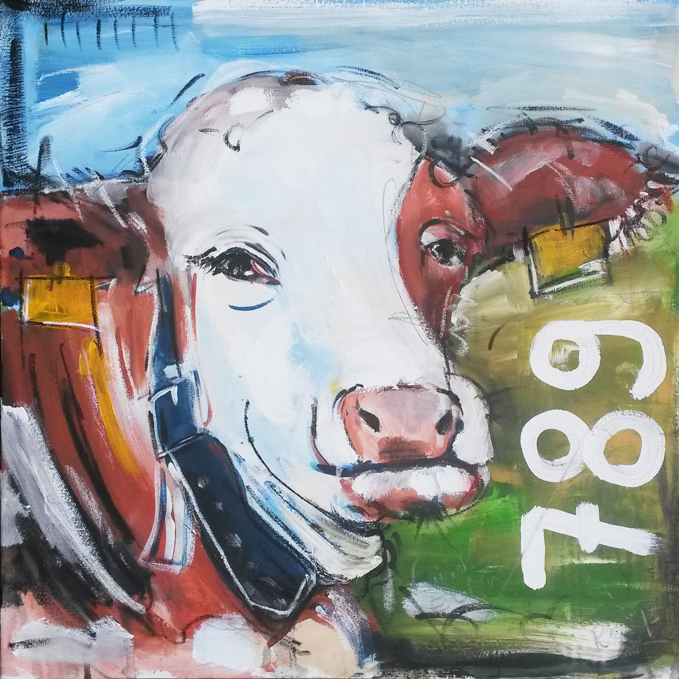 Expressionistische Gemälde, modern Art, Wandbild Kuh