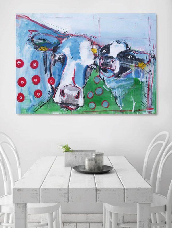 Kunstdruck Kuh und Kalb, Druck nach moderne Malerei, Wandbilder für Küche, Küchenbilder