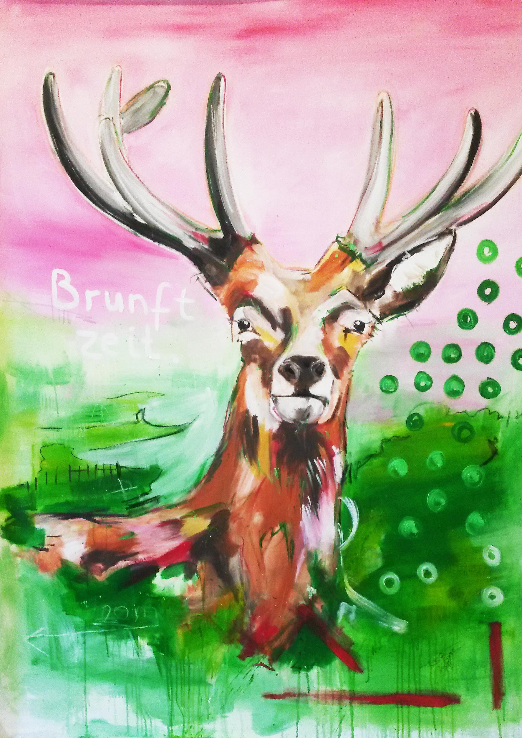 Expressionismus, Malerei auf Leinwand, Hirsch