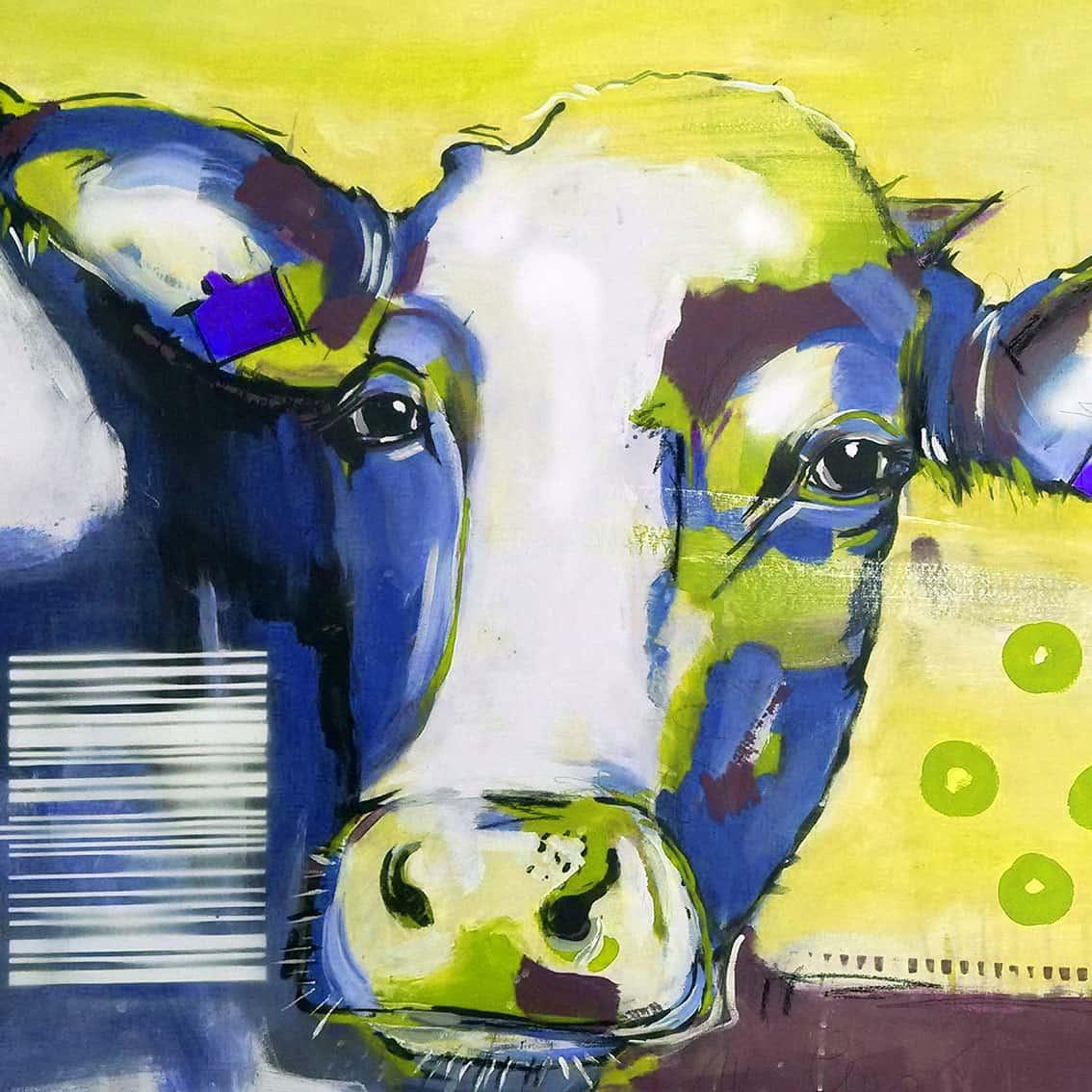 Kunstdruck kuh in blau atelier stefanie rogge - Kuh bilder auf leinwand ...