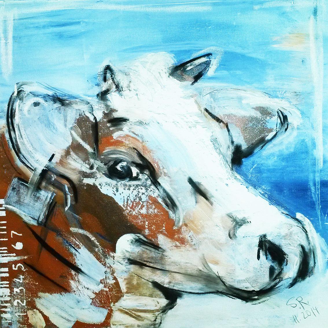 Kunstdruck Kuh gemalt