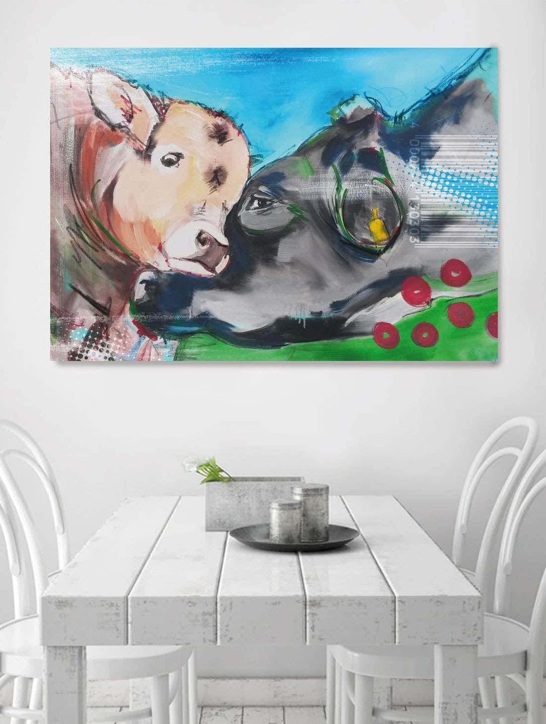 Kunstdruck motiv kuh und kalb auf leinwand kuh bilder auf leinwand - Kuh bilder auf leinwand ...