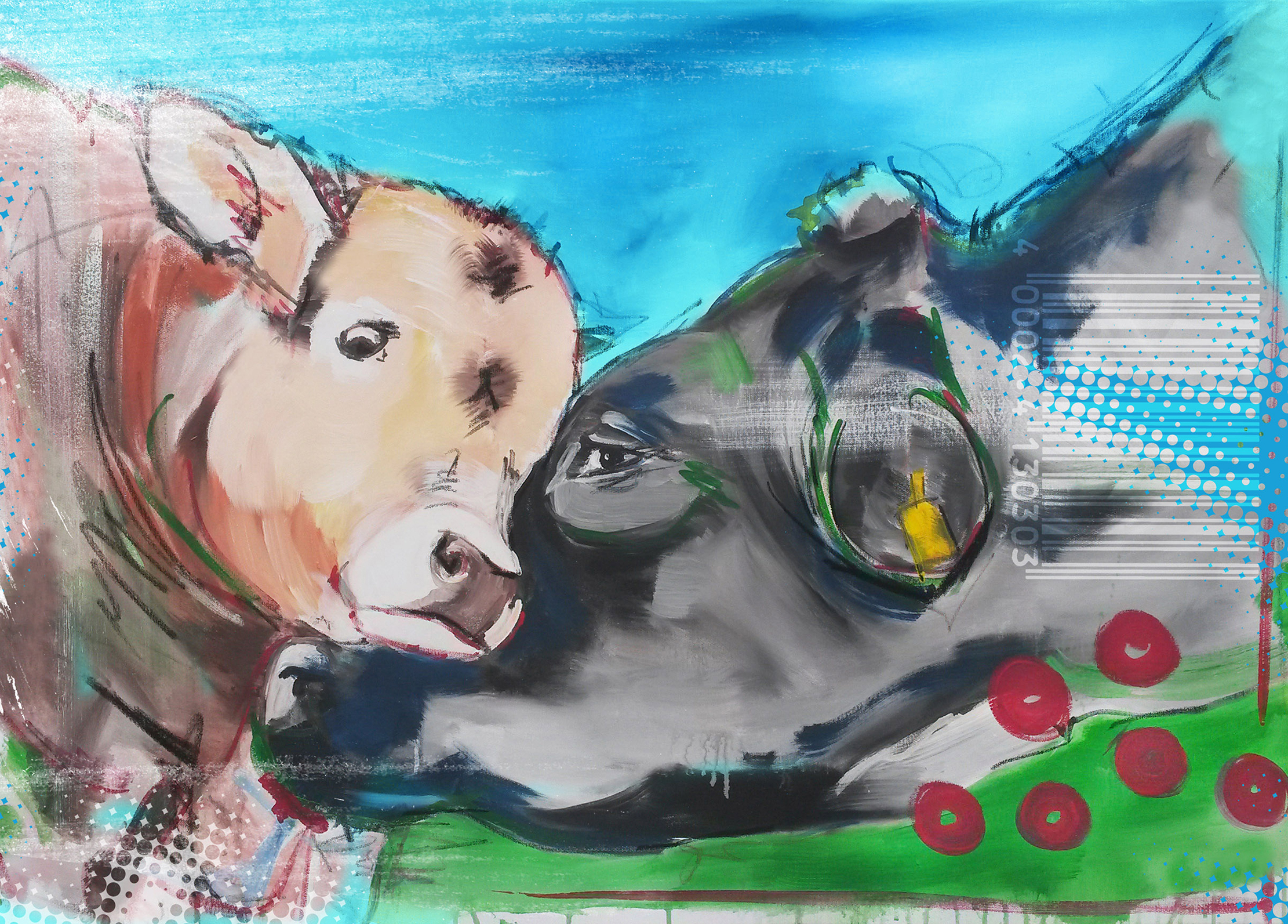 Leinwanddruck Motiv Kuh und Kalb