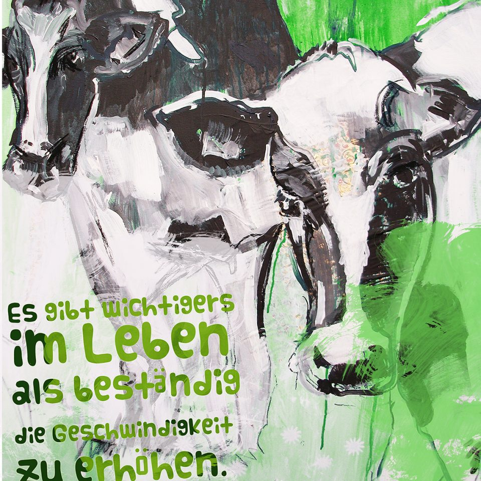 Kuh auf Leinwand