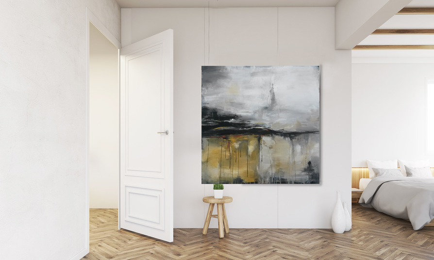 Unikat Wege und Spuren, expressive Malerei auf Leinwand