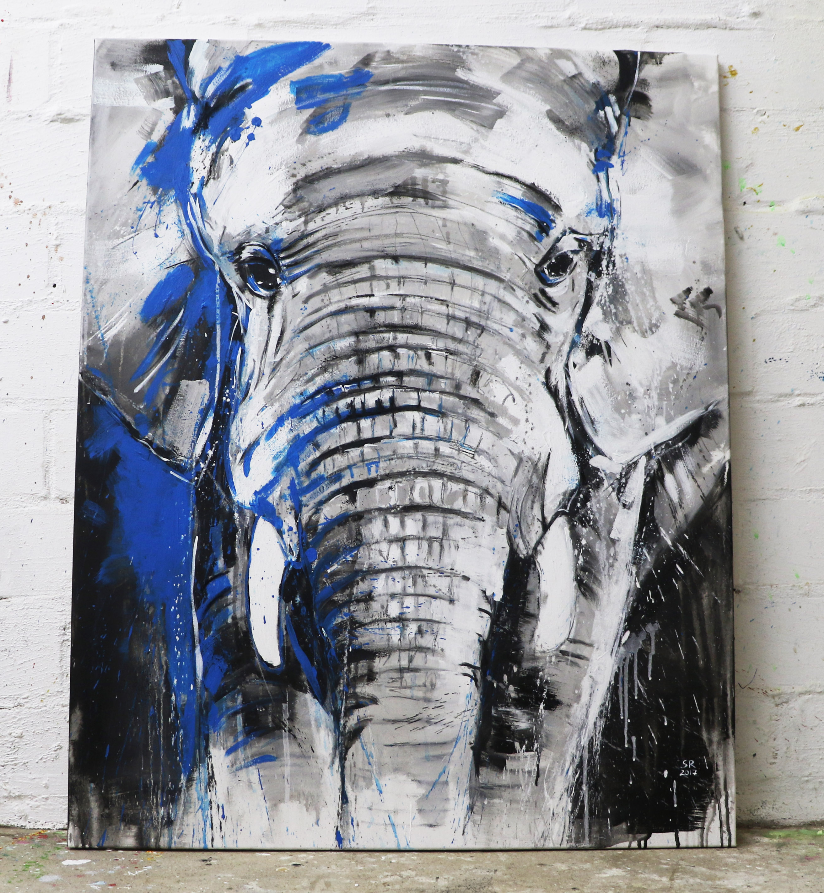 Kunstdruck elefant one of the big five xl atelier stefanie rogge - Vorlagen malerei ...
