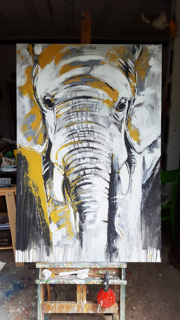 elefant 2 expressive malerei auf gro formatiger leinwand atelier stefanie rogge. Black Bedroom Furniture Sets. Home Design Ideas