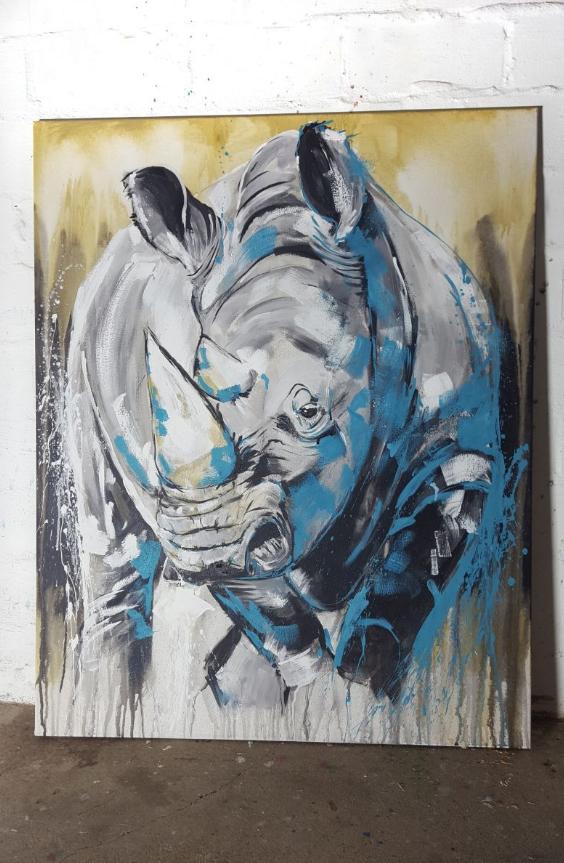 Nashorn,expressive zeitgenössische Malerei auf großformatiger leinwand by Stefanie Rogge