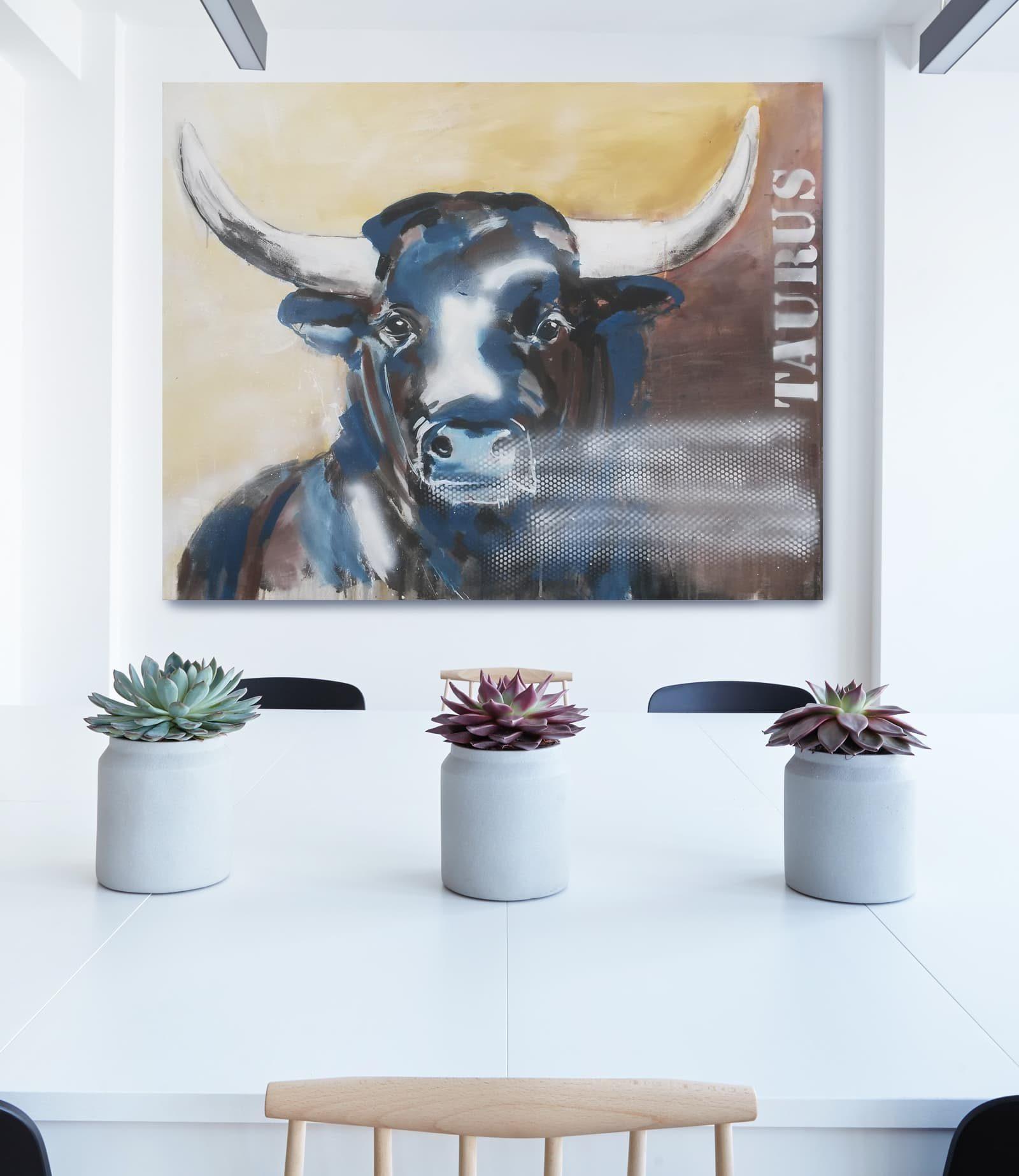 Taurus 2 Unikat Auf Leinwand Stier Gemälde Atelier