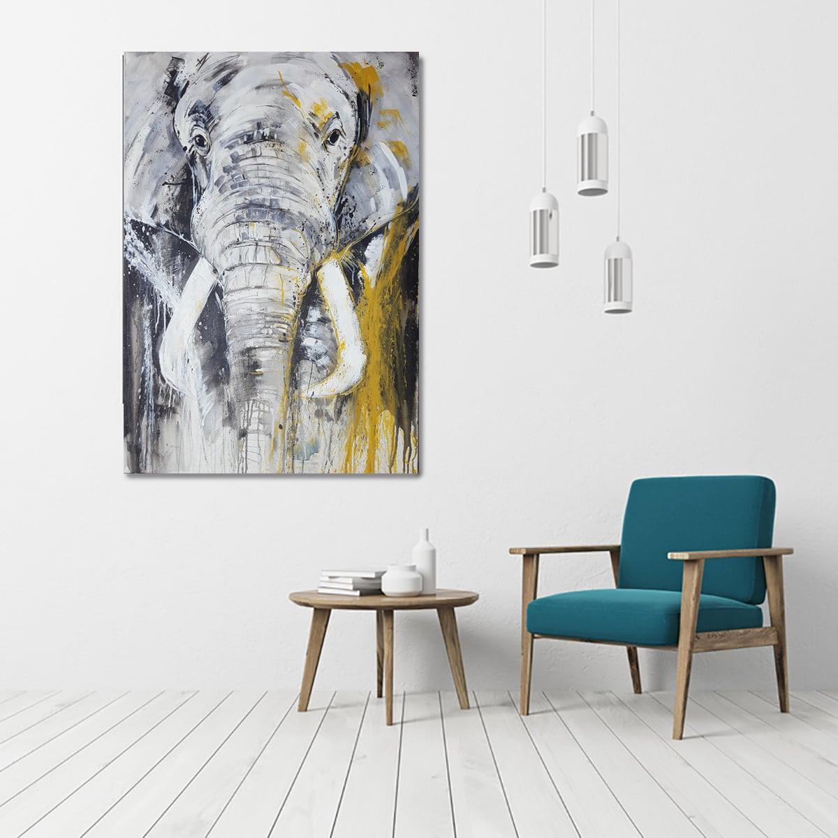 elefant leinwandbild im raum abstrakte bilder original gem lde malerei kunst online kaufen. Black Bedroom Furniture Sets. Home Design Ideas