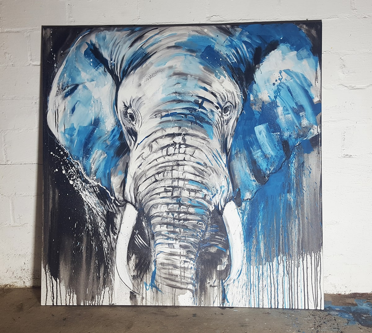 Unikat: Elefant #5, expressives Gemälde, Malerei von Stefanie Rogge, Motiv Elefant No 5
