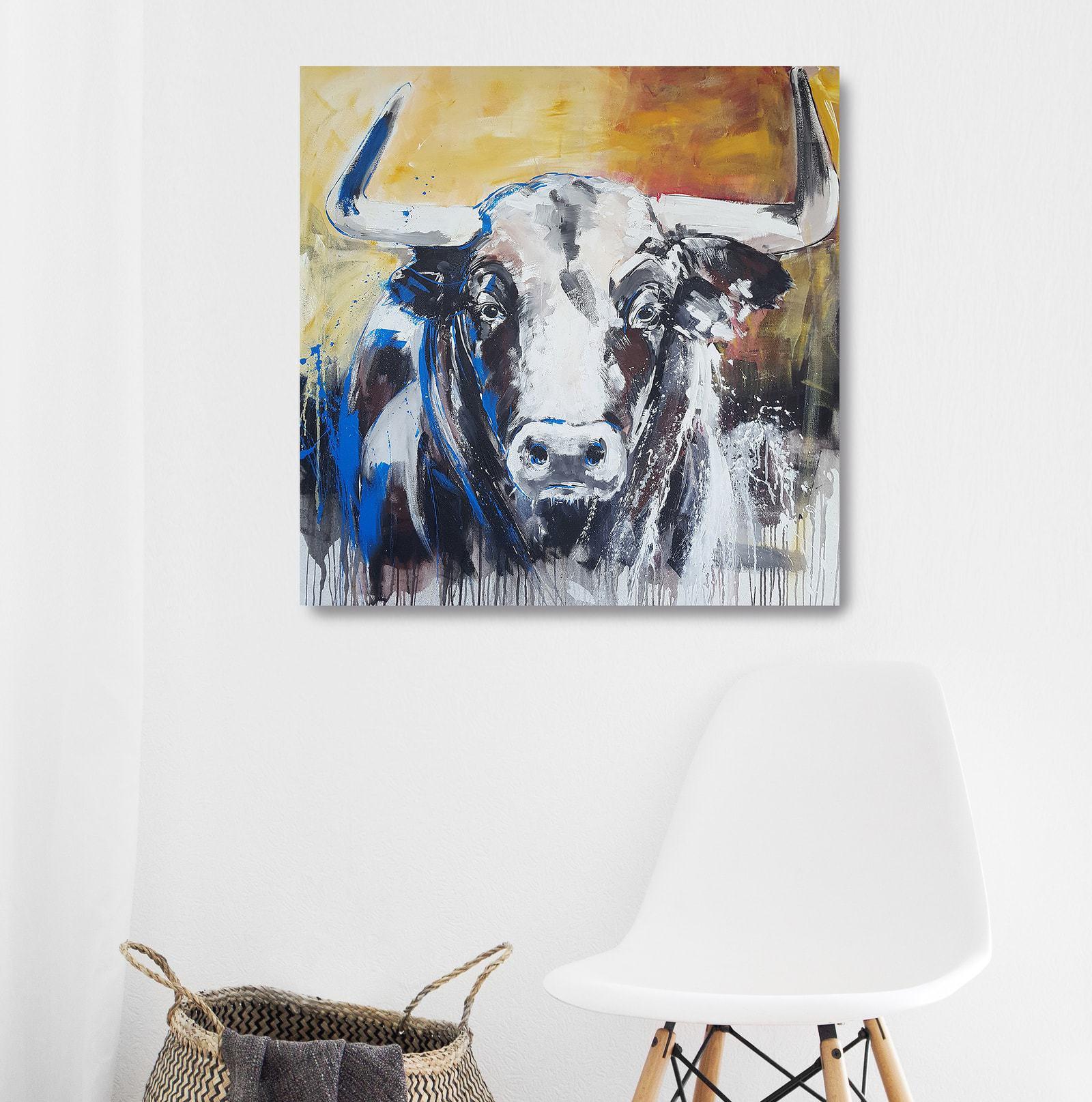 Kunstdruck auf Leinwand, Portrait Stier gemalt, Taurus von Stefanie Rogge