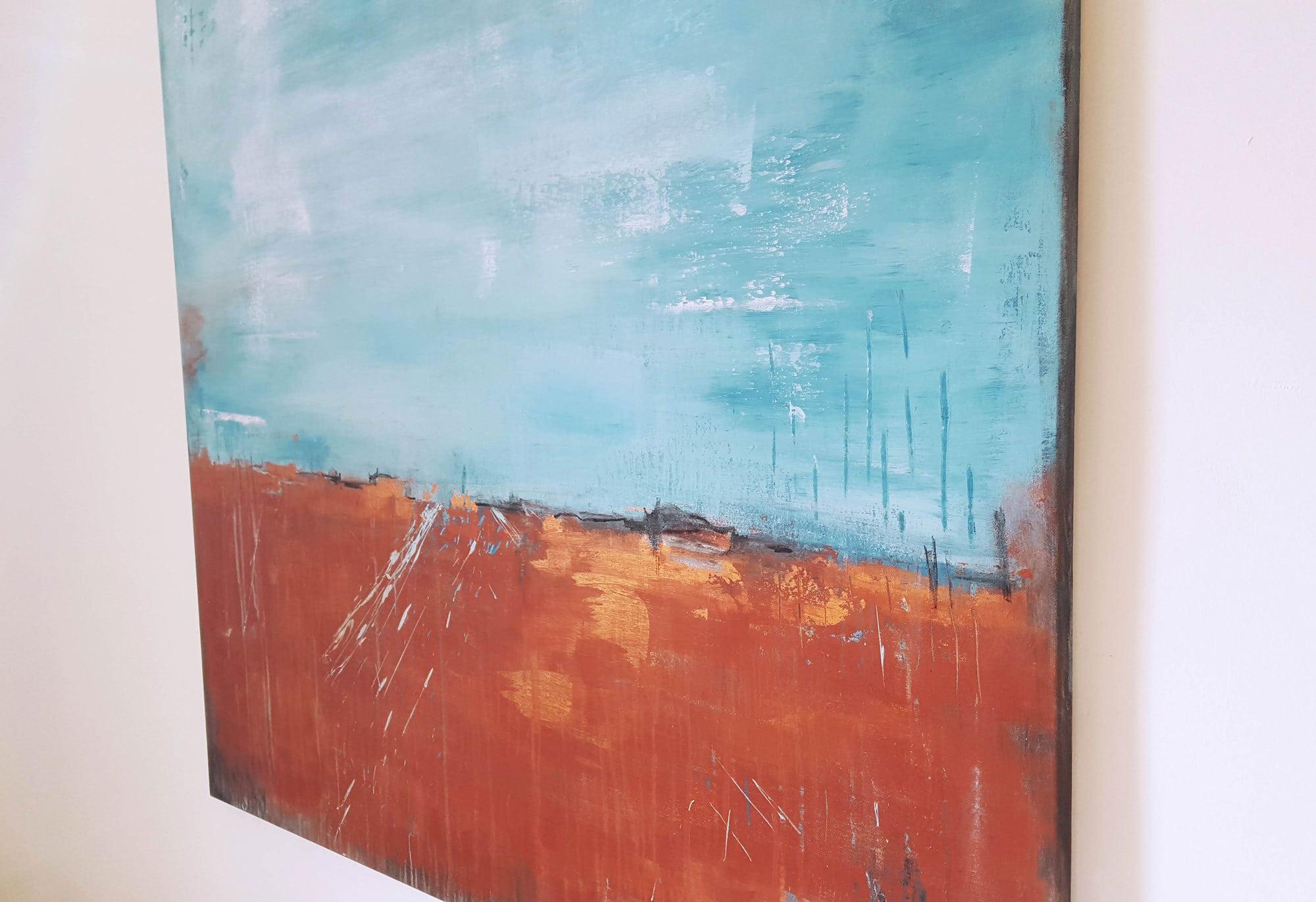 Raumansicht, abstrakte Malerei Terrakotta, Künstlerin Stefanie Rogge