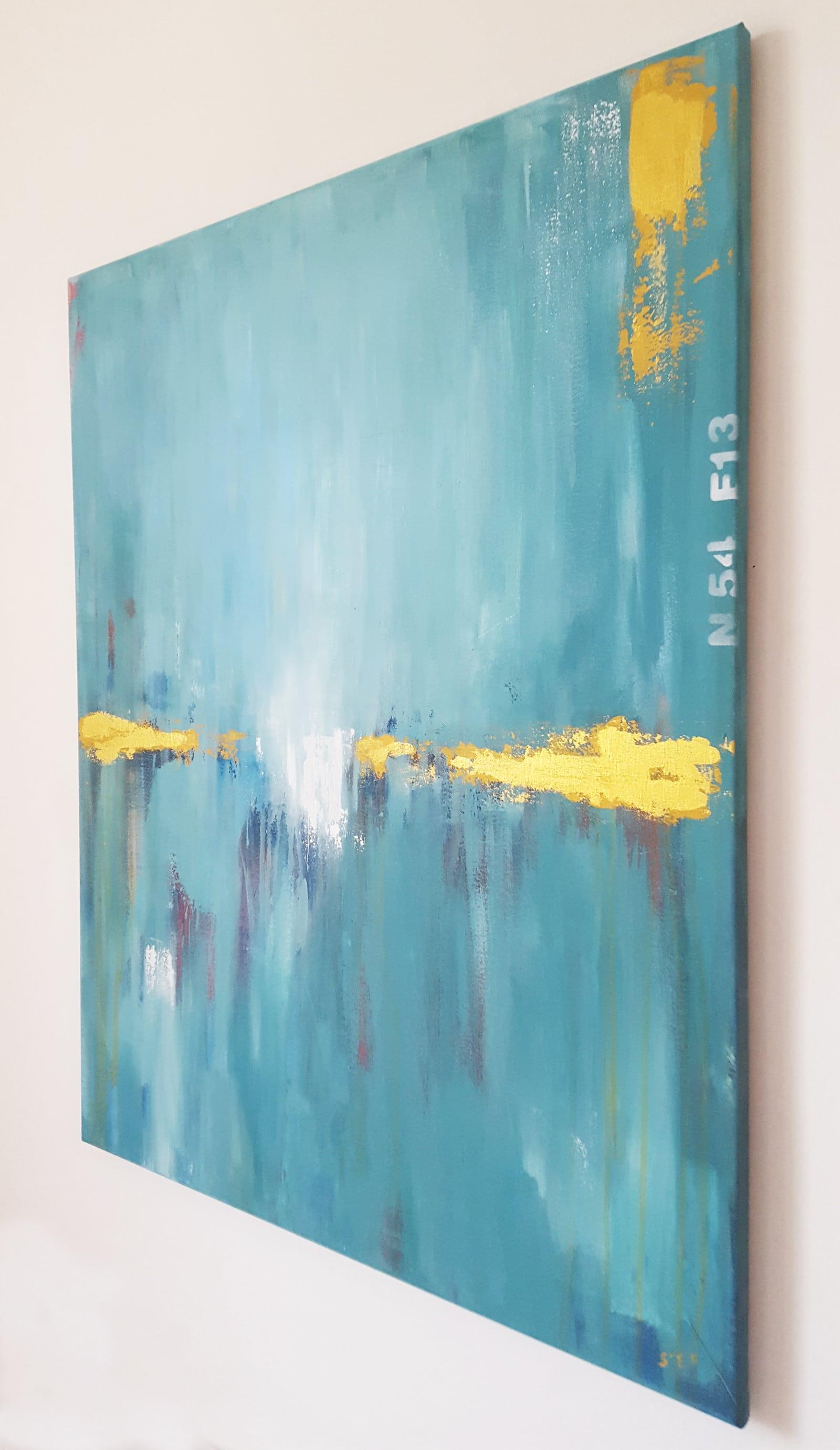 """abstrakte Malerei kaufen """"Tiefsee – """"Gold in Türkis""""von Künstlerin Stefanie Rogge"""