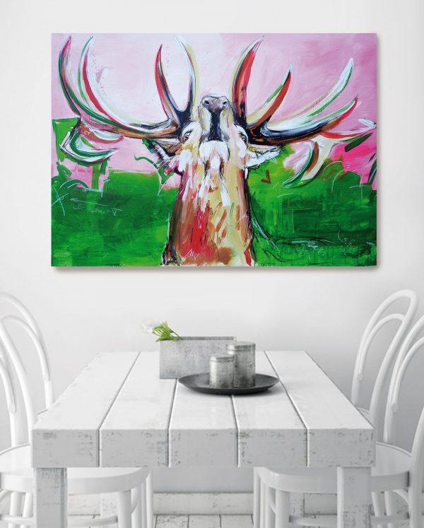 Hirsch Bild auf Leinwand, Wohnzimmerbild, Küchenbild