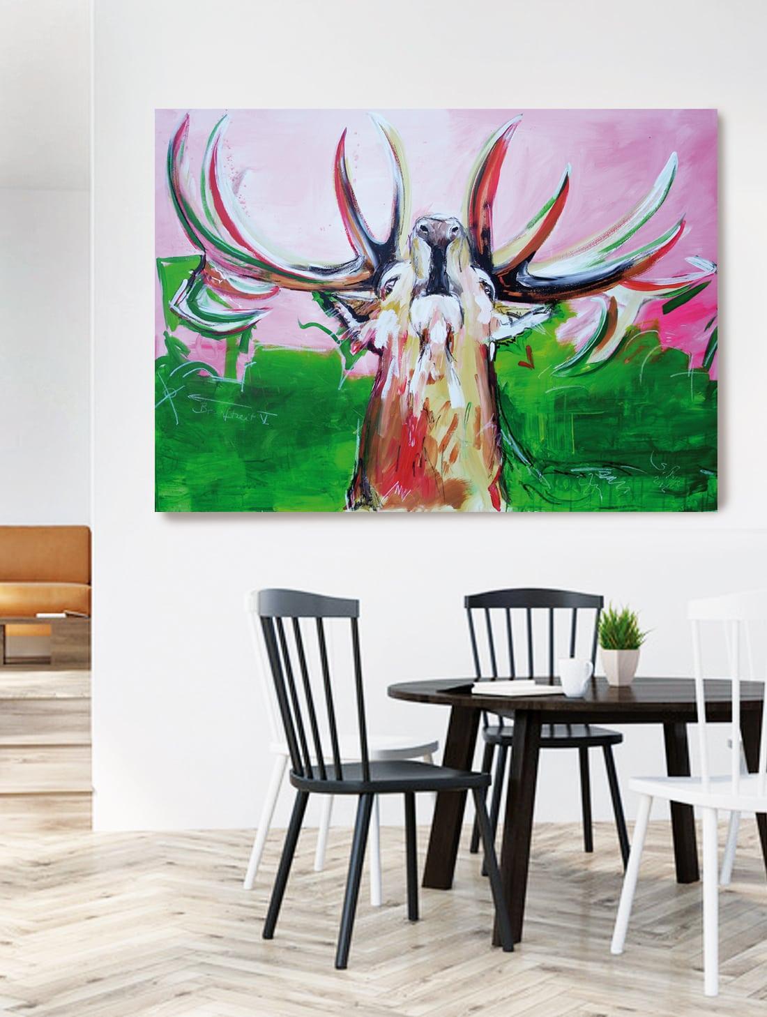 kunstdruck brunftzeit hirsch bild auf leinwand atelier stefanie rogge. Black Bedroom Furniture Sets. Home Design Ideas