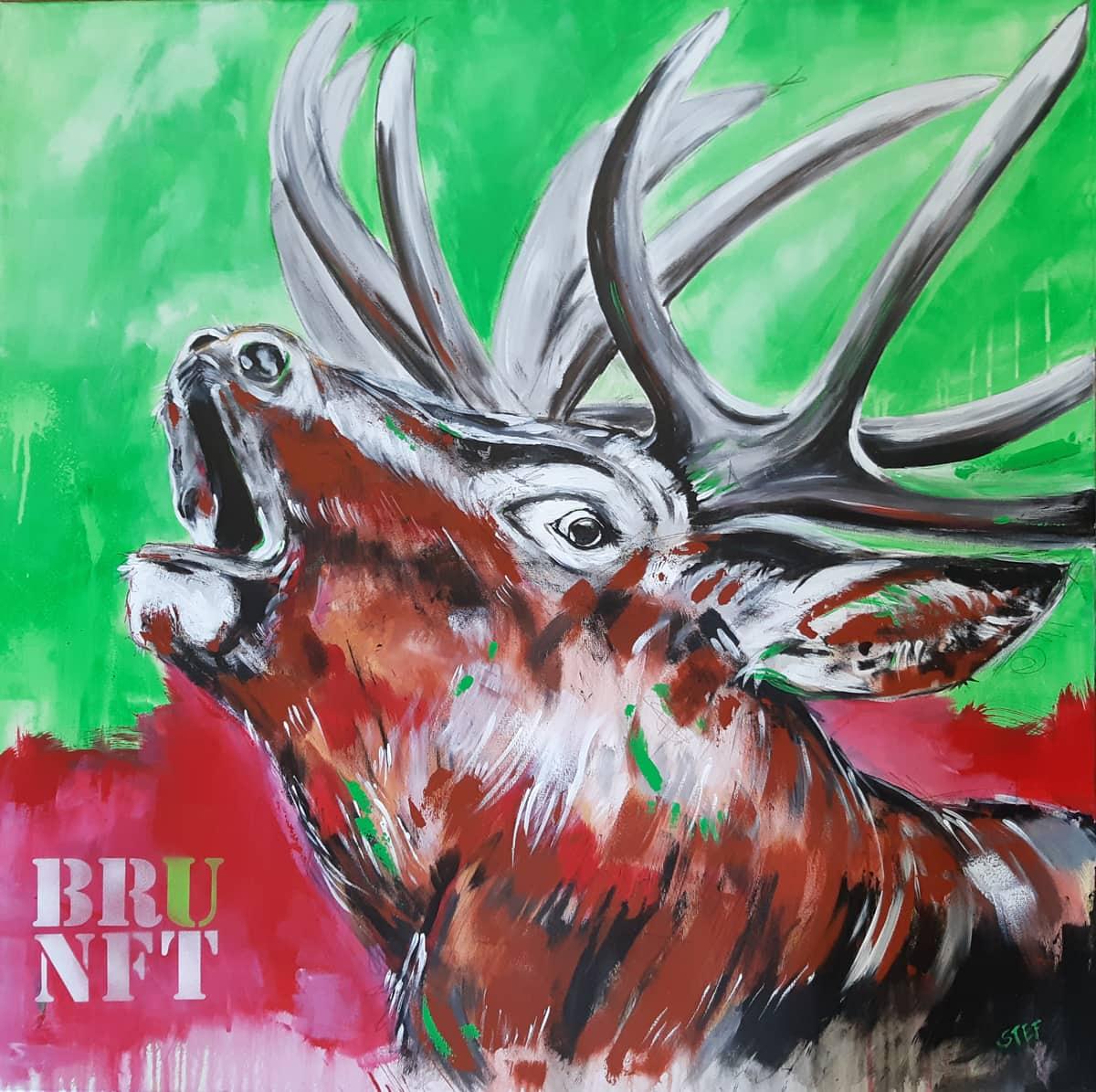 Hirsch Gemälde modern 'BRUNFT' Original von Künstlerin Stefanie Rogge, großformatige Malerei PopArt in Neon, Typo, käuflich