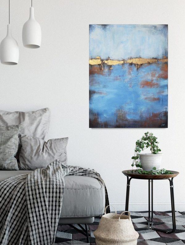 Bild abstrakt in Blau und Gold